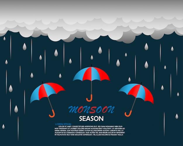 Monsunzeit hintergrundvorlage Premium Vektoren