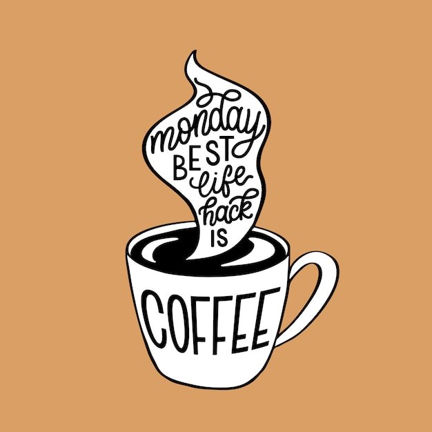 Montag kaffee schriftzug Premium Vektoren