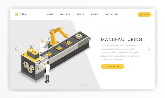 Montagelinie, fabriklandungsseitenschablone. produktions-, produktionsanlageningenieure und arbeiter Premium Vektoren