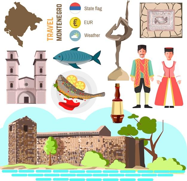 Montenegro kultur symbolsatz. Premium Vektoren