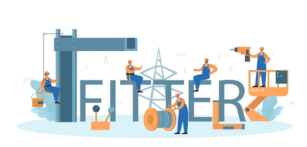 Monteur typografischer header. arbeiter in einheitlichen installationskonstruktionen. Premium Vektoren