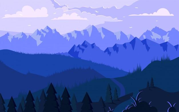 Morgen in der berge minimalistic illustration Premium Vektoren