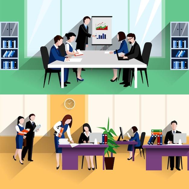 Morgen täglich briefing meeting und büroarbeit situation zwei flache banner zusammensetzung poster Kostenlosen Vektoren