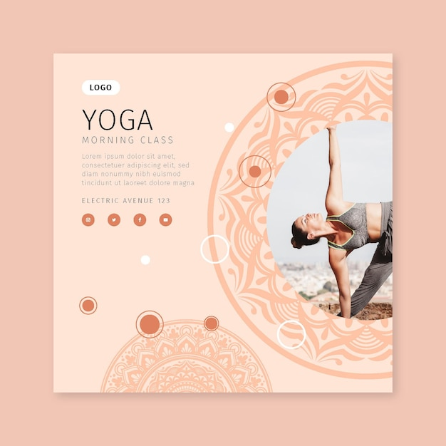 Morgen yoga klasse flyer vorlage Premium Vektoren