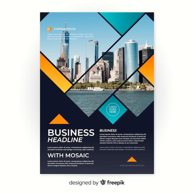 Mosaik business flyer vorlage Kostenlosen Vektoren
