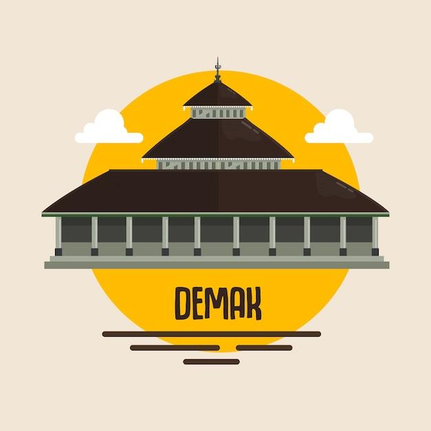 Moschee demak-marke indonesien muslimischer gebetsort Premium Vektoren