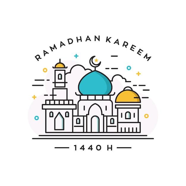 Moschee gebäude vektor logo / ramadan thema entwurfsvorlage Premium Vektoren