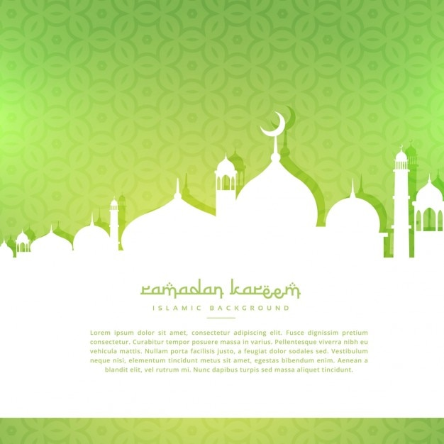 Moschee silhoutte im grünen Muster Hintergrund Kostenlose Vektoren