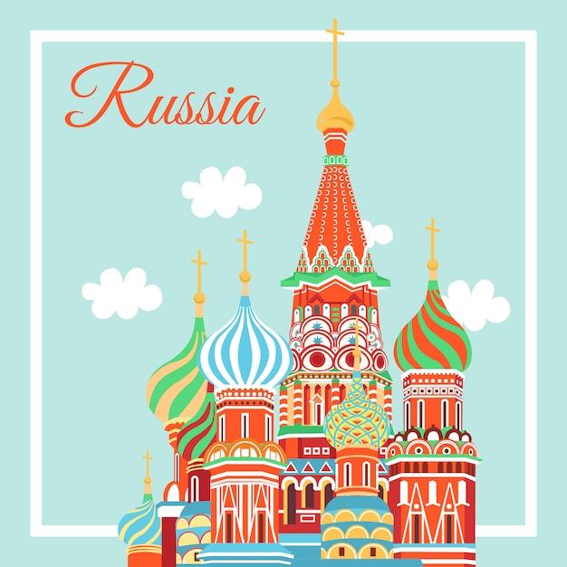 Moskau stadt emblem basilius kathedrale Premium Vektoren