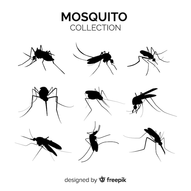 Moskito-silhouette pack von neun Kostenlosen Vektoren