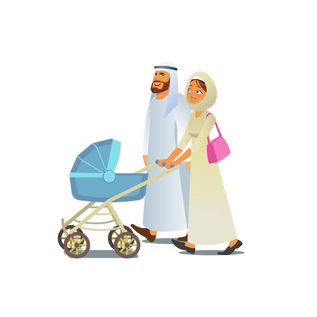Moslemische familie, die mit kinderwagen-vektor geht Premium Vektoren