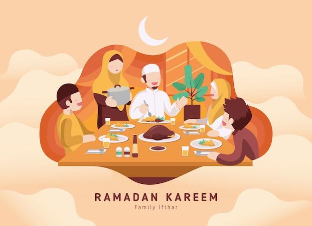 Moslemische familie, die ramadan ifthar zusammen im glück isst Premium Vektoren