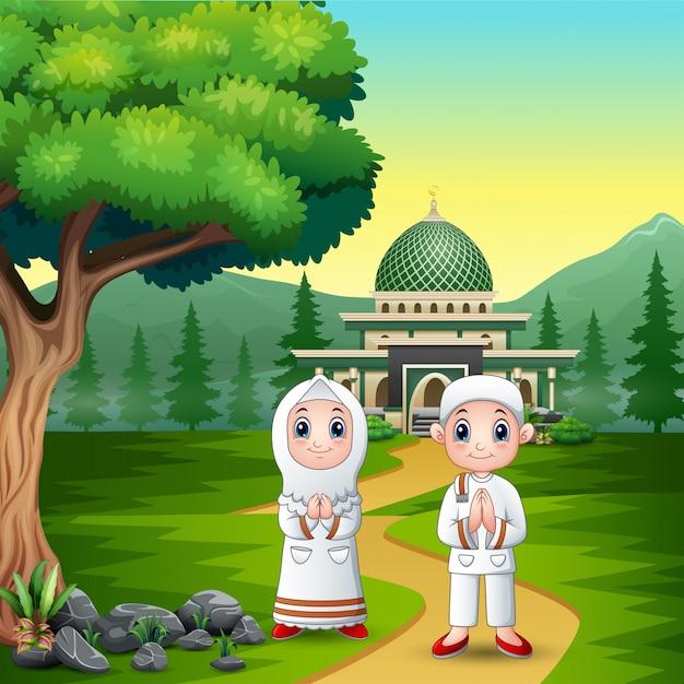 Moslemische feier des glücklichen paars von eid mubarak Premium Vektoren