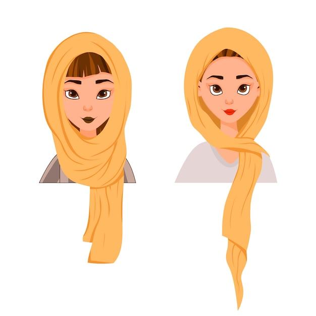 Moslemische frau in einem schal, burka Premium Vektoren
