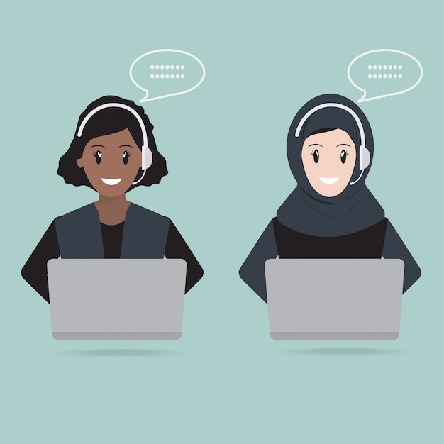 Moslemische frau mit kopfhörer-kundendienstikone Premium Vektoren
