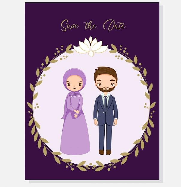Moslemische paare für hochzeitseinladungskarte Premium Vektoren