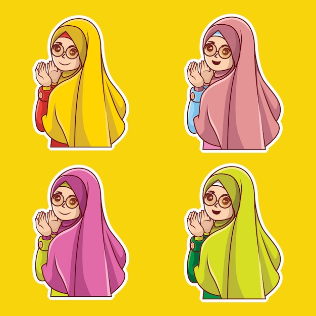 Moslemischer frauencharakter-karikatur-prämienvektor Premium Vektoren