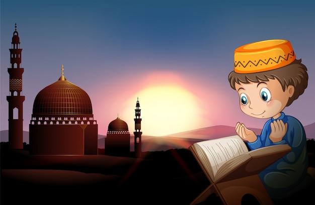Moslemischer junge, der an der moschee betet Kostenlosen Vektoren