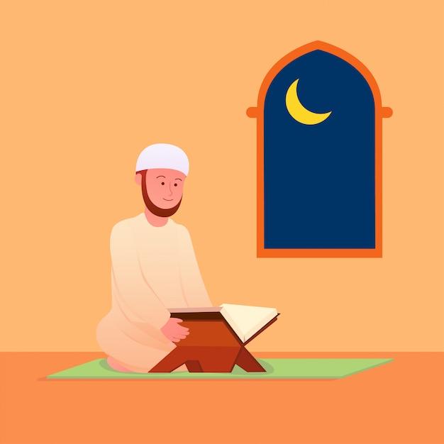 Moslemischer mann, der islamische heilige schrift des quran rezitiert Premium Vektoren