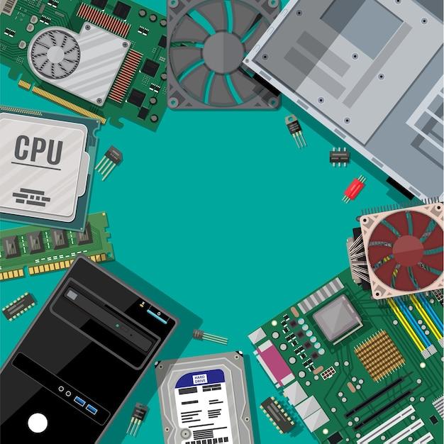 Motherboard, festplatte, cpu, lüfter, grafikkarte, speicher, schraubendreher und gehäuse. satz pc-hardware. symbole für pc-komponenten. Premium Vektoren