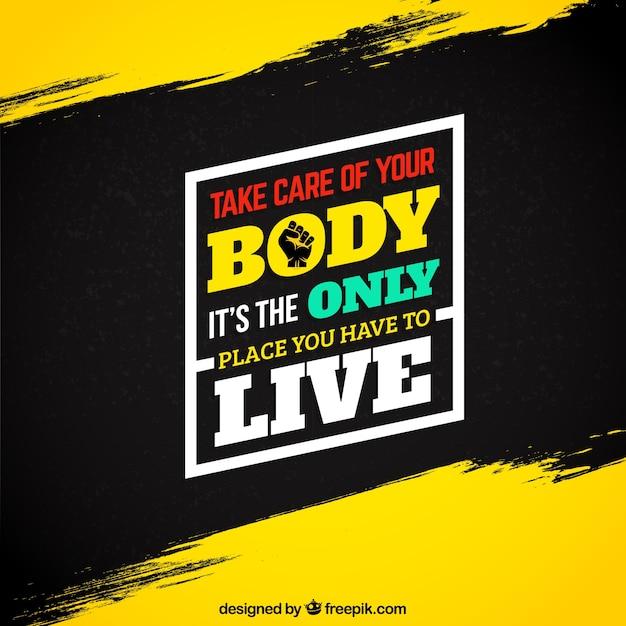 Motivation Fitness-Zitat auf Grunge-Hintergrund Premium Vektoren