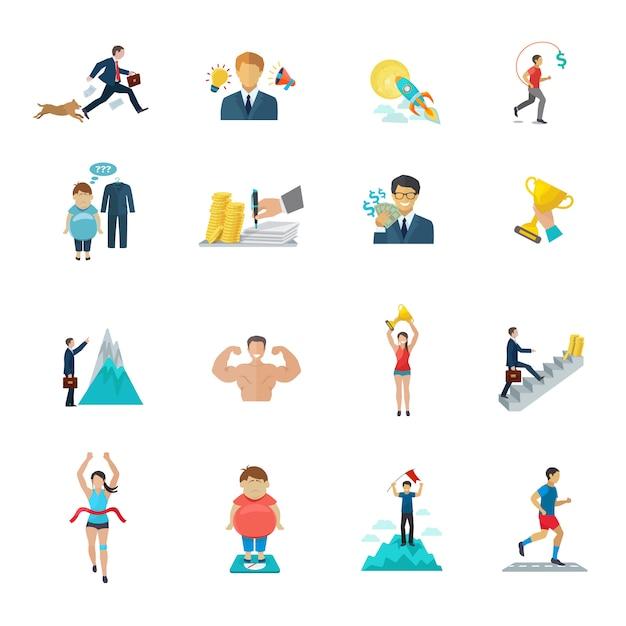 Motivation im büroarbeits- und sportikonenflachensatz Kostenlosen Vektoren