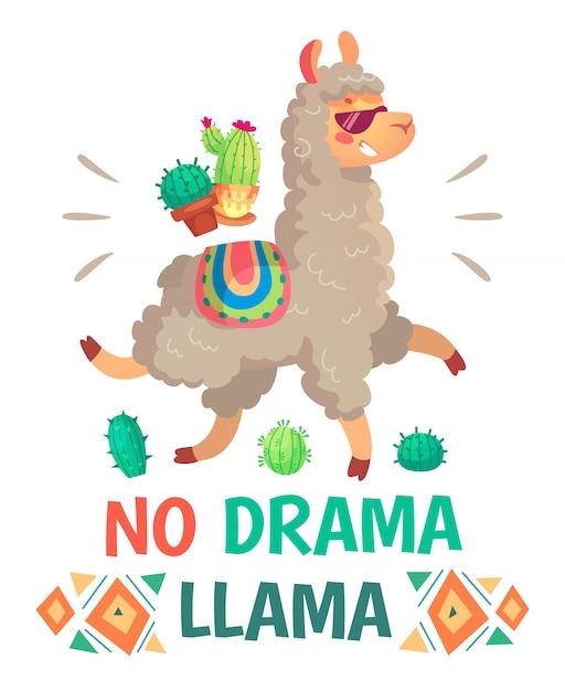 Motivationsbeschriftung ohne drama-lama. kühles lustiges gekritzelalpaka oder peru-symbollama mit sonnenbrille Premium Vektoren