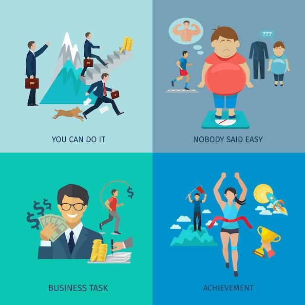 Motivationsdesignkonzept stellte mit flachen ikonen der geschäftsaufgabe und der leistung ein Kostenlosen Vektoren
