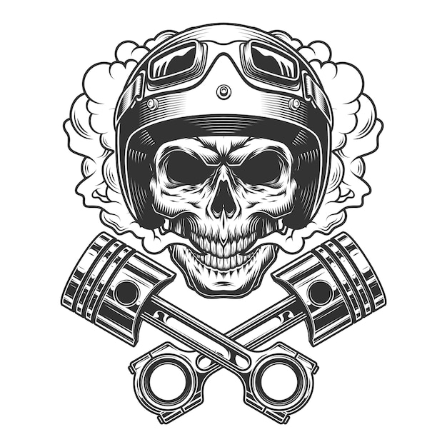 Moto racer schädel in rauchwolke Kostenlosen Vektoren
