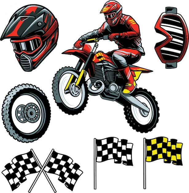 Motocross enduro Premium Vektoren