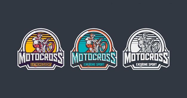 Motocross extremsport premium vintage abzeichen vorlage pack Premium Vektoren