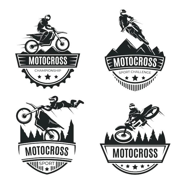 Motocross-logo-sammlungskonzept Kostenlosen Vektoren