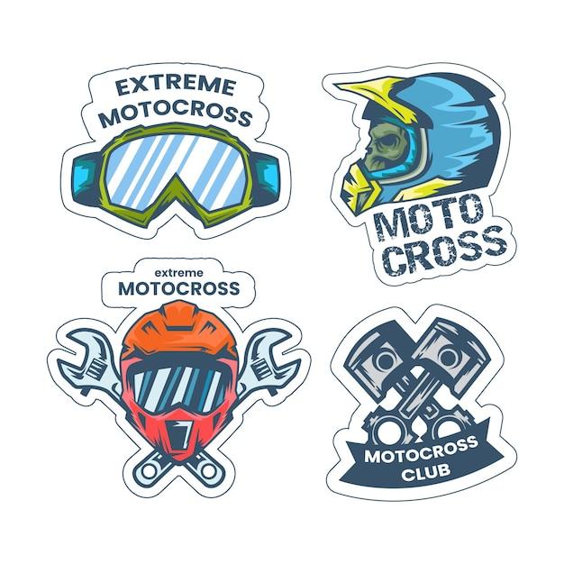 Motocross-logo-vorlagensatz Kostenlosen Vektoren