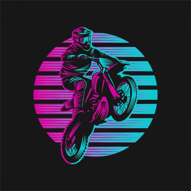 Motocross-sonnenuntergang-retro- vektorillustration Premium Vektoren