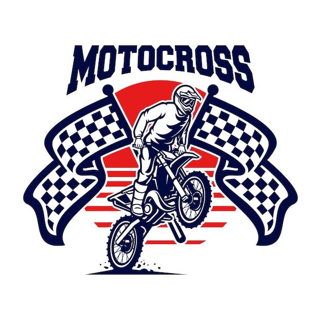 Motocross-vektor-logo, motocross-freistil Premium Vektoren