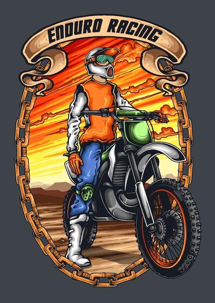 Motocross wacer mit helm und sonnenuntergang hintergrund Premium Vektoren