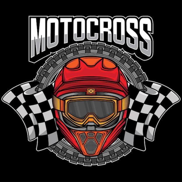Motocrosshelm mit grafischem logo Premium Vektoren