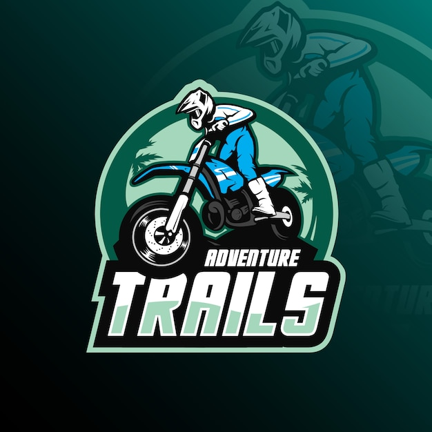 Motocrossmaskottchenlogo-designvektor mit moderner illustration Premium Vektoren