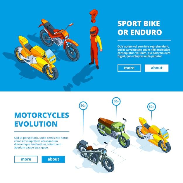 Motorrad-banner für den motorsport Premium Vektoren