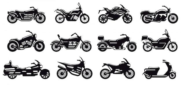 Motorrad fahrzeug silhouette. moderne geschwindigkeitsrennrad-, roller- und zerhackerseitenansicht, motorradkörperschattenbildillustrationsikonen gesetzt. schwarzes monochromes motorrad für lieferung oder motocross Premium Vektoren