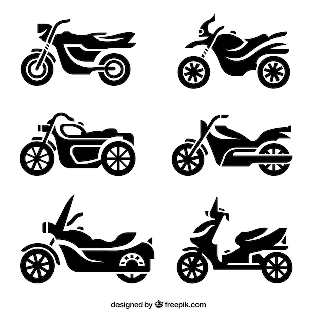 Motorrad-silhouetten Kostenlosen Vektoren
