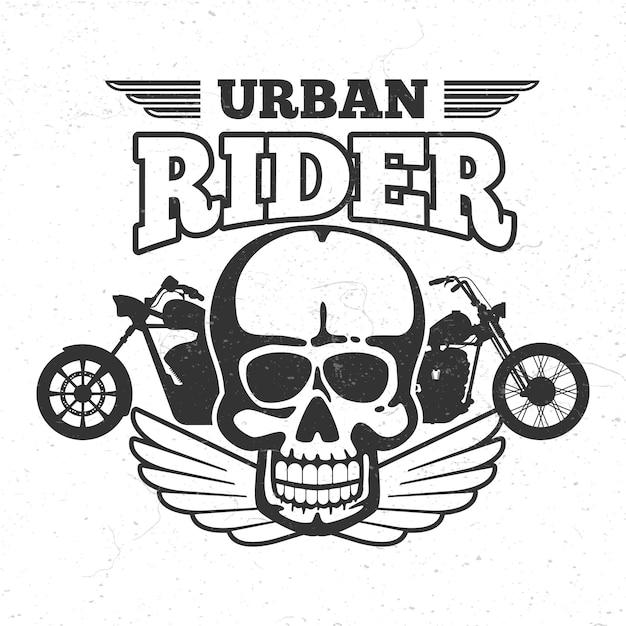 Motorradclub vintage embem mit motorrad und totenkopf Premium Vektoren