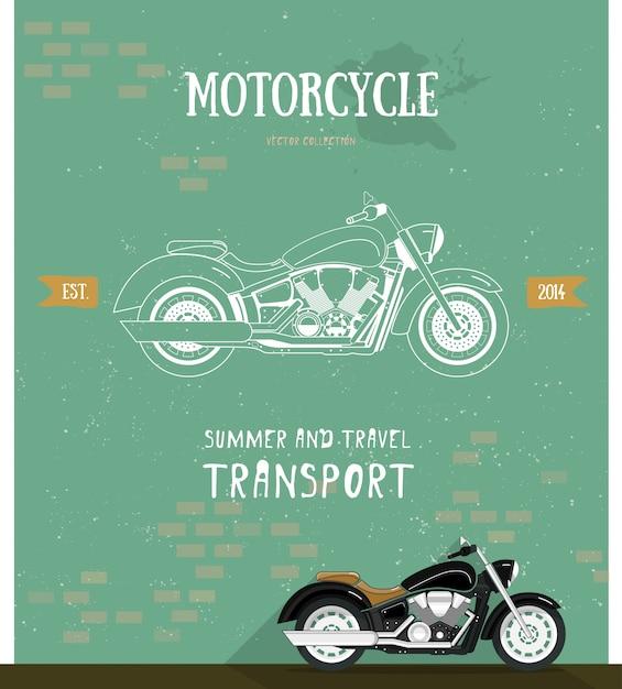 Motorradlogo im flachen und linienstil. Premium Vektoren