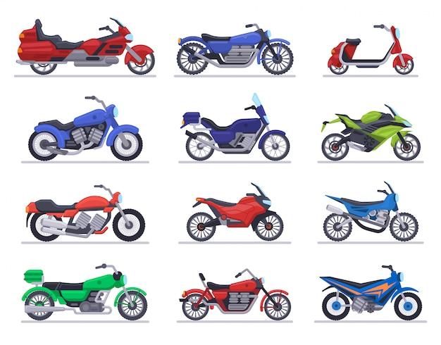 Motorradmodelle. motorrad, roller und speed race bike, moderne motofahrzeuge, chopper motor transport illustration icons set. motorradtransport schnell und krafttransport Premium Vektoren
