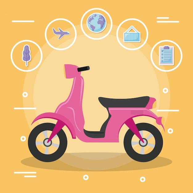 Motorradroller mit ikonensatz Premium Vektoren