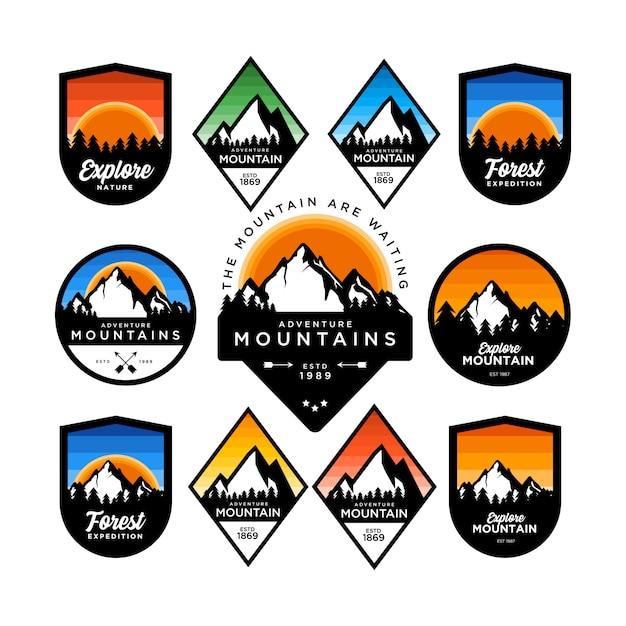 Mountain adventure abzeichen set Premium Vektoren