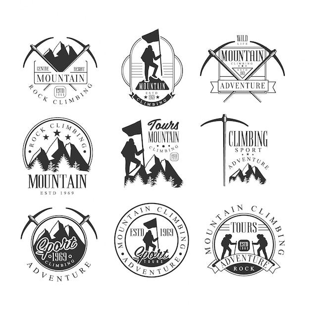 Mountain climbing extreme adventure tour schwarzweiß-zeichen-design-vorlagen mit text- und werkzeugsilhouetten Premium Vektoren