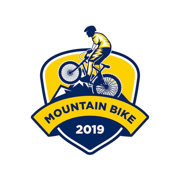 Mountainbike-logo, down hill bike-logo Premium Vektoren