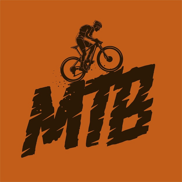 Mountainbike silhouette illustration Premium Vektoren