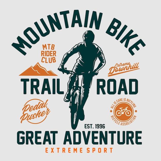 Mountainbike t-shirt grafik Premium Vektoren